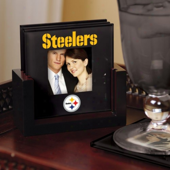 Pittsburgh Steelers Black 4-pack Photo Coaster Set