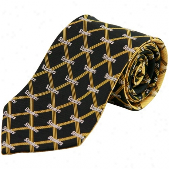 Pittsburgh Steelers Black-gold Home And Away Reversible Silk Necktie