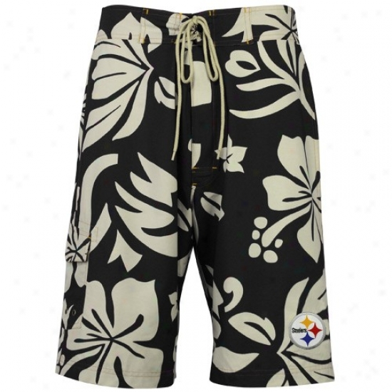 Pittsburgh Steelers Black Hawaiian Print Boardshort