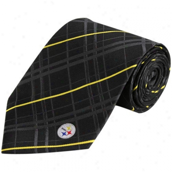 Pittsburgh Steelers Black Oxford Woven Silk Tie
