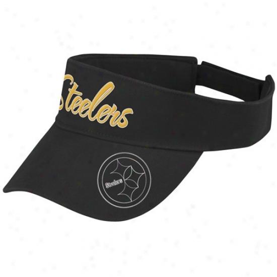 Pittsburgh Steelers Gear: Reebok Pittsburgh Steelers Ladies Black Fashion Adjustable Visor