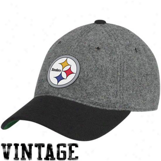 Pittsburgh Steelers Hats : Mitchell & Ness Pittsburgh Steelers Gray Melton Wool Flex Hats