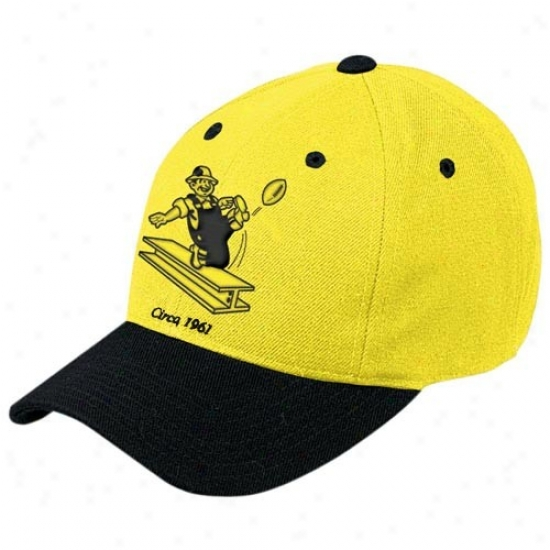 Puttsburgh Steelers Hats : Reebok Pittsburgh Steelers Gold Retro Logo Wool Blend Adjustable Hats