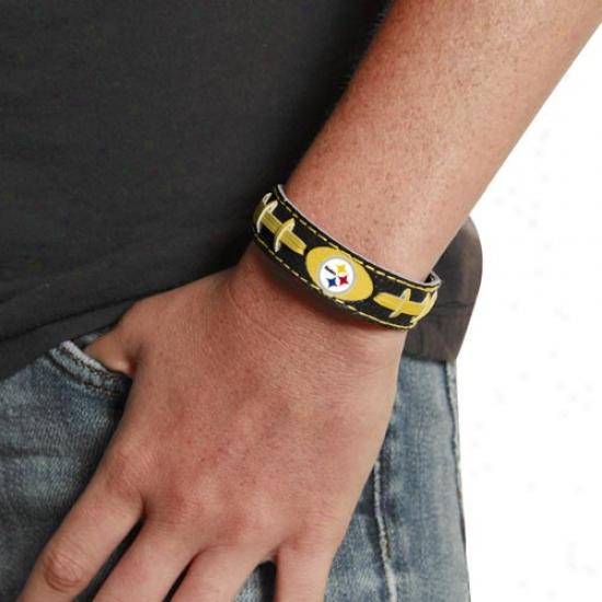 Pittsburgh Steelers Ladies Black Leather Football Bracelet