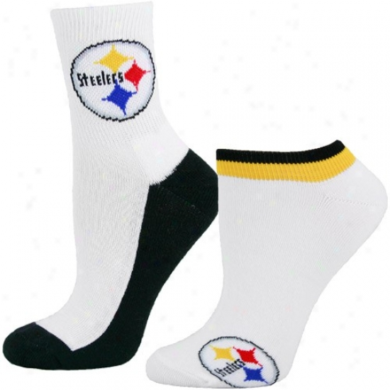 Pittsburgh Steelers Ladies Of a ~ color Quarter & Footie 2-pack Socks