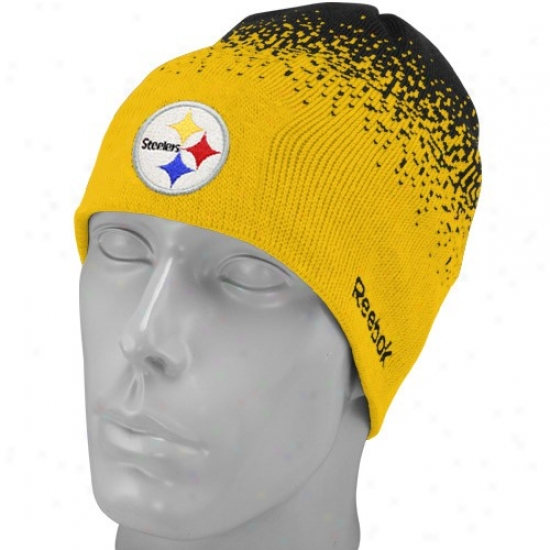 Pittsburgh Steelers Merchandisse: Reebok Pittsburgh Steelers Gold Fadeout Sideline 2nd Season Player Beanie