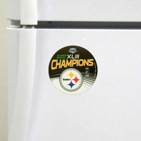 Pittsburgh Steelers Super Bowl Xliii Champions Black Die Cut Rouund Magnet