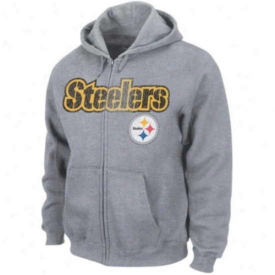 Pittsburgh Steelers Sweat Shirts : Pittsburgh Steelers Ash Touchback Iii Full Zip Sweat Shirts