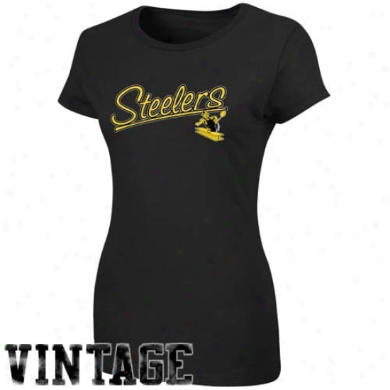 Pittsburgh Steelers T Shirt : Pittsburgh Steelers Ladies Black Legacy Franchise Fit T Shirt