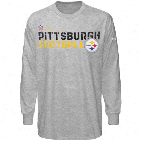 Pittsburgh Steelers T Shirt : Reebok Pittsburgh Steelers Youth Ash Sideline Statement Long Sleeve T Shirt