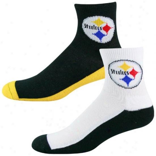Pittsburgh Steelers Tri-color Twk-pack Quarter Socks