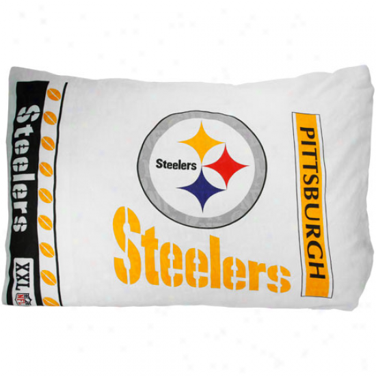 Pittsburgh Steelers White Pillowcase