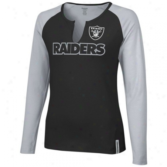 Raiders Attire: Reebok Raiders Ladies Black-gray High Pitch Long-winded Sleeve Premium T-shirt