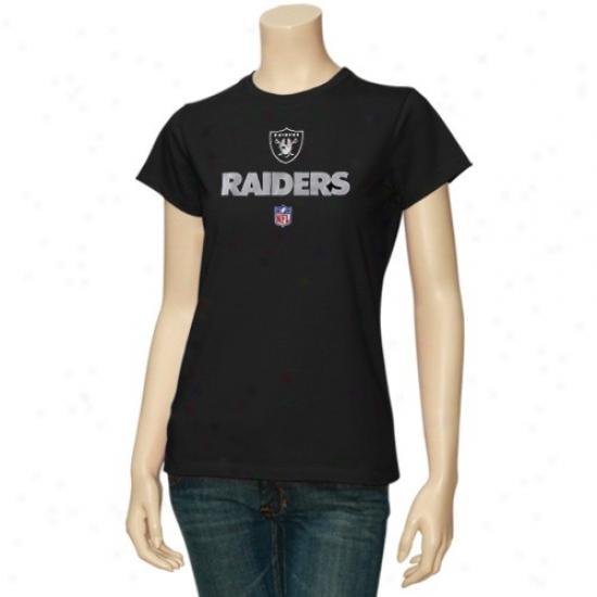 Raiders Attkre: Reebok Raiders Ladies Black Team Lockup Sideline T-shirt
