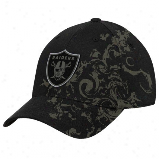 Raiders Caps : Reebok Raiders Black Tattoo Swirl Structured Flex Fit Caps