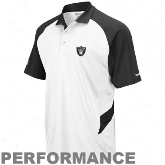 Raiders Golf Shirt : Reebok Raiders White-black Sideline Statement Perfomance Golf Shirt