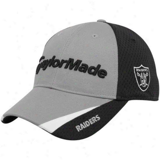 Raiders Hats : Taylormade Raiders Gray-black 2010 Nfl Golf Adjustable Hats