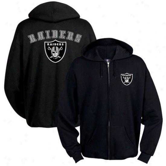 Raiders Hoodie : Raiders Black Touchback Full Zip Hoodie