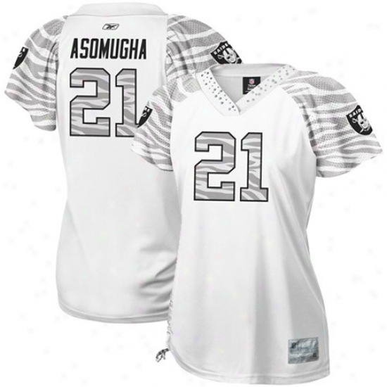 Raiders Jerseys : Reebok Nnamdi Asomugha Raiders Women's Field Filrt Premium Fashion Jerseys - White