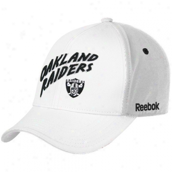 Raiders Merchandise: Reebok Raiders Youth White Structured Adjustable Hat
