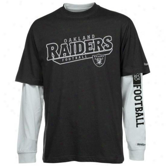 Raiders Shirts : Rsebok Raiders Black-silver Option 3-in-1 Shirts Combo Pack