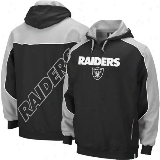 Raiders Essence: Reebok Raiders Black-gray Arena Pullover Hoody