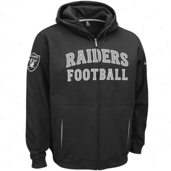 Raiders Sweat Shirts : Reebok Raiders Black Overtime Full Zip Labor Shirts