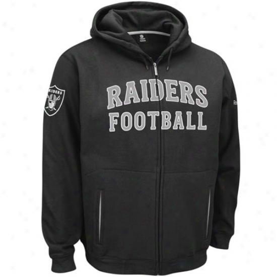 Raiders Sweat Shirts : Reebok Raiders Black Overtime Full Zip Labor Shirts