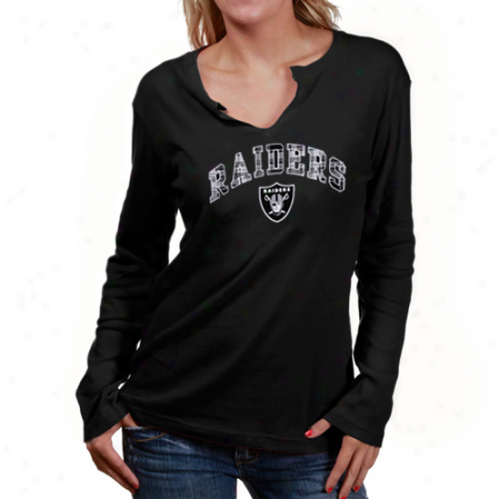 Raiders T Shirt : Reebol Raiders Ladies Black Harmony Long Sleeve T Shirt