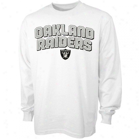 Raiders T-shirt : Reebok Raiders White Double Arched Long Sleeve T-shirt