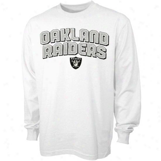 Raiders T-shirt : Reebok Raiders White Double Arched Long Sleeve T-shirt