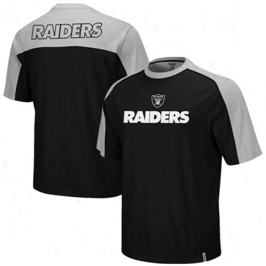 Raiders Tee : Reebok Raiders Black-silver Drafft Pick Tee