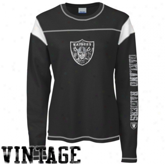 Raiders Tees : Reebok Raiders Ladies Black Giant Logo Long Sleeve Vintage Premium Thermal Tees