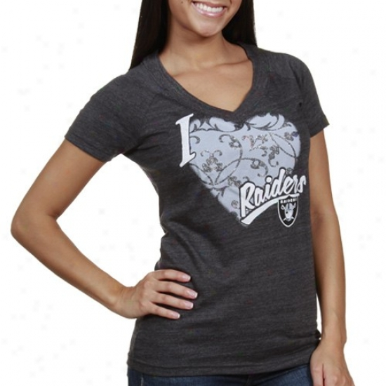 Raiders Tshirt : Raiders Ladies Charcoal I Love This Team V-neck Tri-blend Tshirt