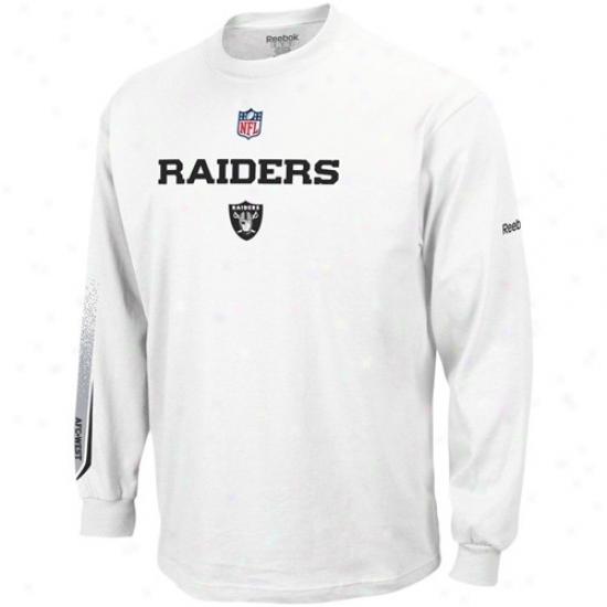 Raiders Tshirt : Reebok Raiders Wihte Optimus Long Sleeve Tshirt