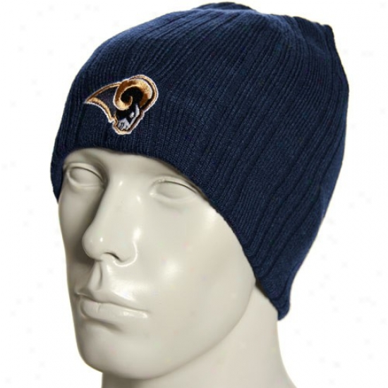 Rams Hats : Reebok Rams Navy Blue Block Knit Reversible Beanie