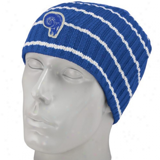 Rams Hats : Reebok Ramd Royal Blue Stripe Vintage Knit Beanie