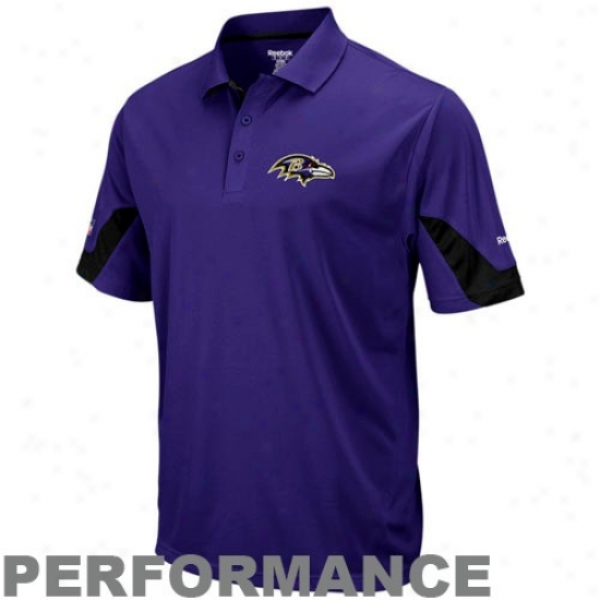 Ravens Golf Shirt : Reebok Ravens Purple-black Performance Sideline Team Golf Shirt