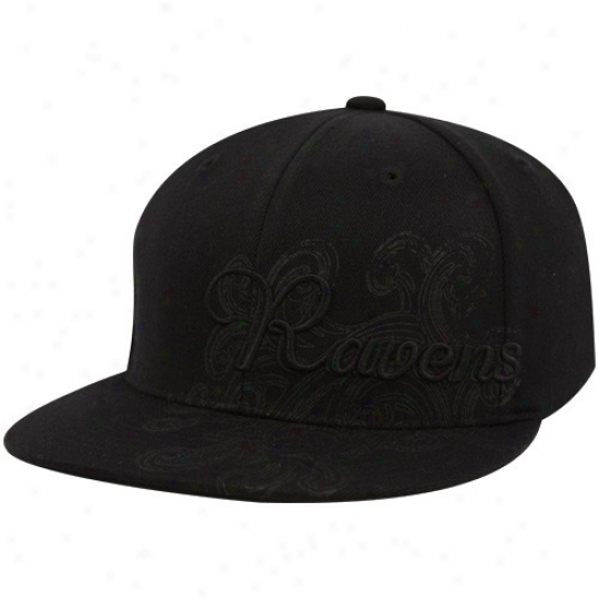 Ravens Hat : Reebok Ravens Black Fashion Flex Fit Hat