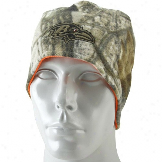 Ravens Hat : Reebok Ravenns Real Tree Camo-orange Reversible Knit Beanie