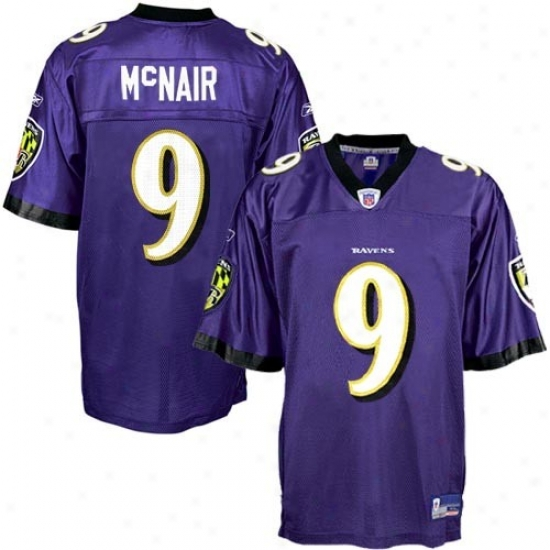 Ravens Jersey : Reebok Nfl Equipment Ravens #9 Steve Mcnair Purple Replica Football Jersey