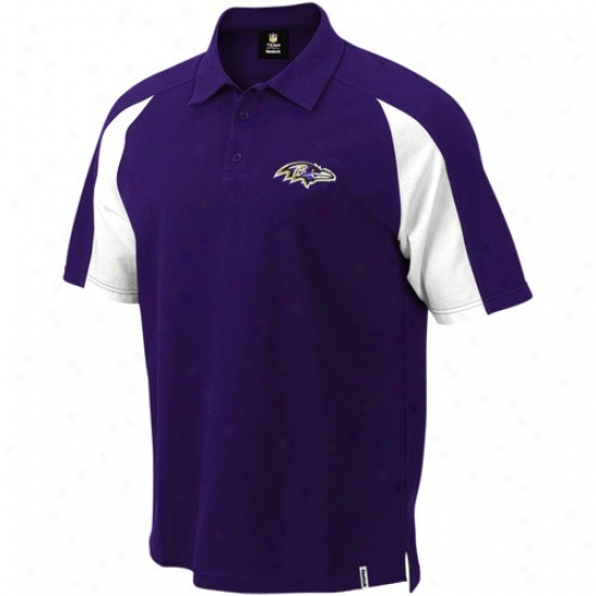 Ravens Polo : Reebok Ravens Purple Stealth Pique Polo