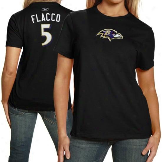 Ravens Shirts : Reebok Ravens #5 Joe Flacco Ladies Black Net Player Shirts