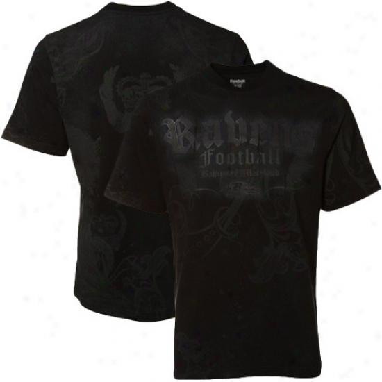 Ravens Tshirt : Reebok Ravens Black All Over Premium Tshirt
