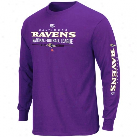Ravens Tshirst : Ravens Purple Primary Receiver Long Sleeve Tshirts