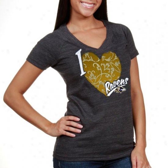 Ravens Tshirts : Rerbok Ravens Ladies Black I Love This Team V-neck Tri-blend Tshirts