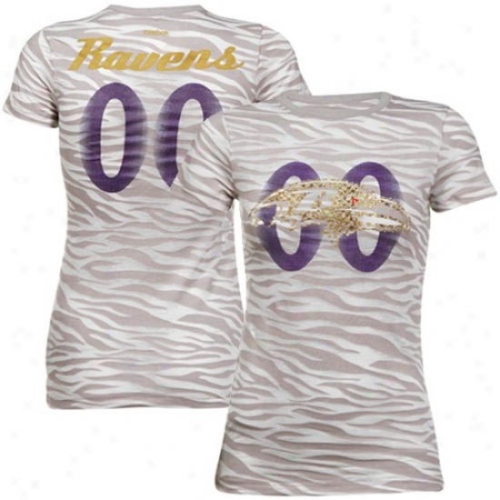 Ravens Tshirts : Reebok Ravens Ladies Gray Field Flirt Animal Print Burnout Premium Tshirts