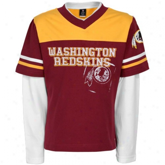 Redskin Attire: Reebok Redskin Youth Girls Burugndy Statement Double Layer 3/4 Sleve T-shirt