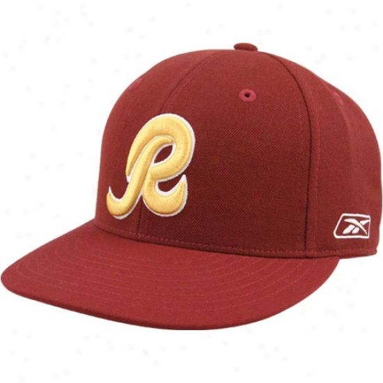 Redskin Cap : Reebok Redskin Burgundy Embroidered Fitted Cap
