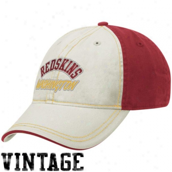 Redskin Cap : Reebok Redskin Natural-burgundy Arhced Lettering Adjustable Slouch Cap